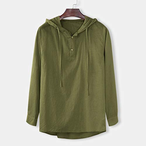 Leisuraly New Mens Cotton Linen Hoodie Sweatshirts Long Sleeve Solid Hooded Henley Shirts Army Green (Baby Thermal Long Sleeve Henley Army Green)