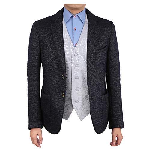 Epoint EGC1B03A-S Silver Patterned Beautiful Gentlemen Waistcoat Woven Microfiber Formal Wear Accessories Small Vest
