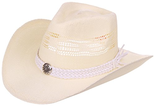 (Enimay Western Outback Cowboy Hat Men's Women's Style Straw Felt Canvas Sun White One Size)