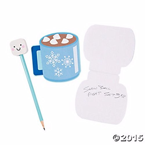 Popcandy 12 Hot Coco Snowflake Notepads & 12 Marshmallow Eraser Pencils Fun Party (Marshmallow Snowman Craft)