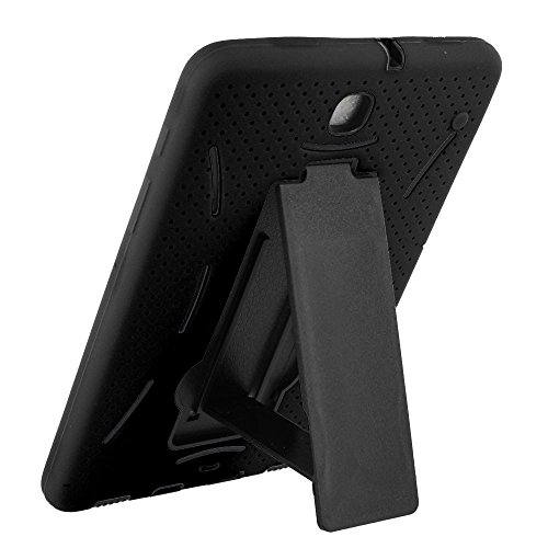 Galaxy Tab S2 9.7 Case KIQ (TM) Heavy Duty Hybrid Silicone Skin Hard Plastic Case Cover w/ Screen Protector for Samsung Galaxy Tab S2 9.7 T815 - Black / Black by KIQ