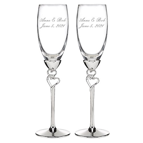 Personalized, ENGRAVED Wedding Accessories Entwined Hearts Silver-Plated Champagne Flutes, Set of - Wedding Glasses Personalized