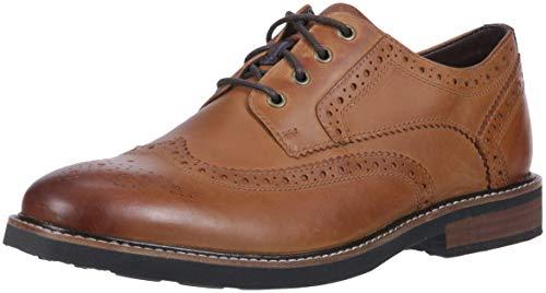 Nunn Bush Men Oakdale Wingtip Oxford Lace Up with KORE Comfort Walking Technology Shoe, Tan Crazy Horse, 10 XW US ()