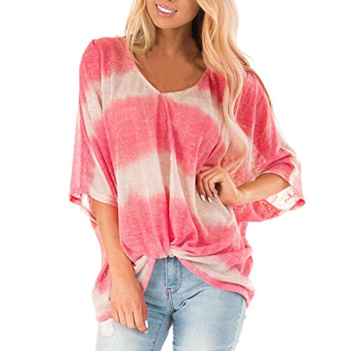 Womens Summer Short Sleeve Loose V/O Neck Print Tee Casual Blouse T-Shirt Tops Red -