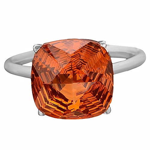 Desiregem Padparadscha Sapphire Lab Created 12x12 MM Cushion Shape 925 Sterling Silver Ring Size 6-10 DGR1097_D ()