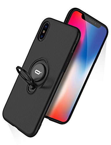 Metal Back Choose Cut Out - iPhone X Case, iPhone 10 Case With Ring Holder Kickstand, 360°Adjustable Ring Grip Stand Compatible with Magnetic Car Mount Anti-Fingerprint Slim Cover for Apple iPhone X (2017) 5.8 inch - Black