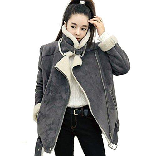 - LOCOMO Women Gray Faux Suede Fur Lined Zipper Aviator Biker Coat FFJ024S