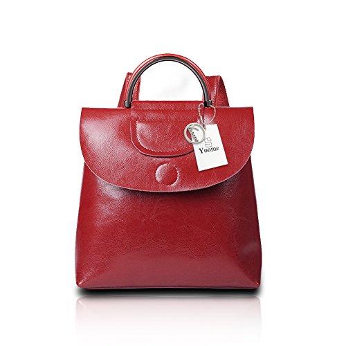 Yoome Vintage Flap Mochila de cuero bolso grande de viaje Señoras bolso de hombro estilo simple monedero marrón Borgoña