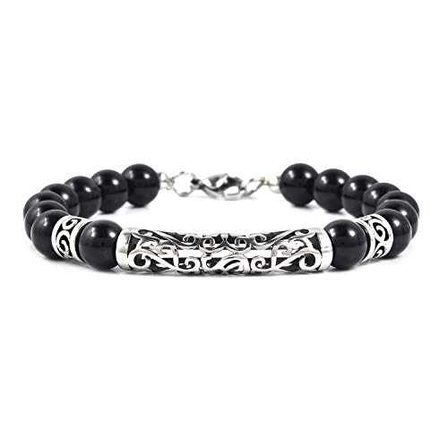 Shop LC Delivering Joy Enhanced Agate Black Oxidized Stainless Steel Beaded Bracelet for Mens Jewelry 8.5