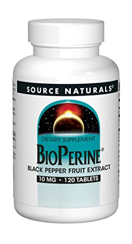 (Source Naturals BioPerine 10mg Black Pepper Fruit Extract (Piperine) Supplement - With Calcium - 120 Tablets)