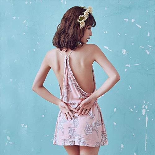 Bandage Manches Sans Robe Nuit De Casual Dame Nuisette Femme Nue Mode cou Epaule Eté V Pink Impression Sling mNnwv80Oy
