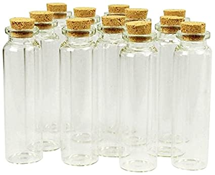 14c760f6a1b7 Firefly Imports Homeford Mini Glass Tube Corked Jars Candy Bottle, Clear,  3-1/4-Inch