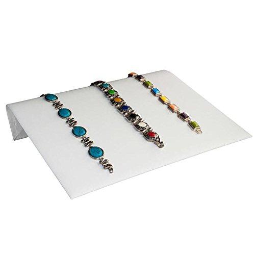 White Leather Jewelry Bracelet/Watch Display Ramp ~ 10