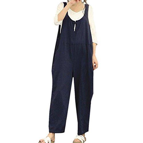 Pantalon Pantalon Salopette Marin Femme Ample Bleu Combinaison Jumpsuit R5OqA