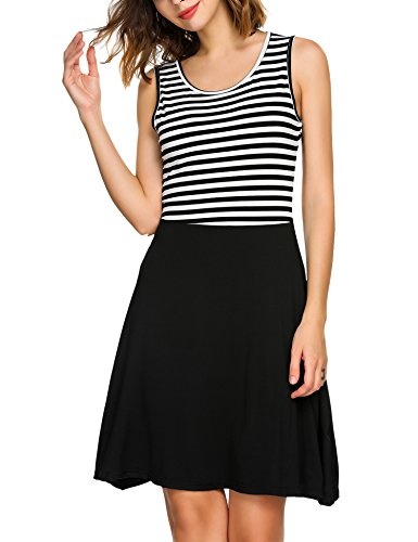 Zeagoo Women Summer Beach Vacation Casual Stripes Color Stitching Sleeveless Cocktail Cute Mini Swing Dress