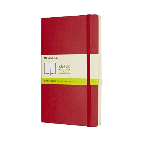 Moleskine Plain Soft Cover Classic Notebook, Large, Scarlet.