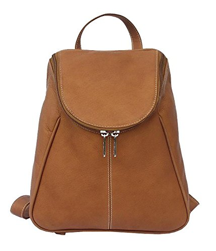 Small Leather Piel Flap (Piel Leather U-Zip Flap Backpack in Saddle)
