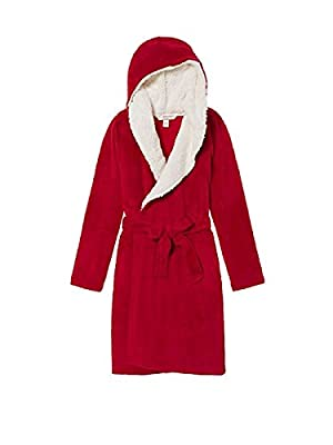 Victoria's Secret Cozy Hooded Short Robe, Vibrant Red - Size M/L