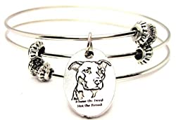 Blame the Deed Not the Breed Pit Bull Awareness Expandable Triple Wire Bracelet
