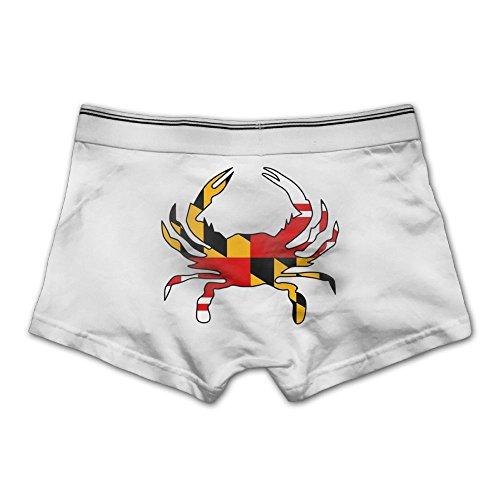 - Leroyll Maryland Flag Crab Dyed Men's Boxer Briefs Breathable Underwear Cotton White XL