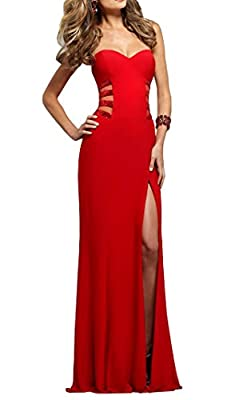 Meledy Women's Sweetheart Backless Sequins Sheath Long Red Prom Dress Slit