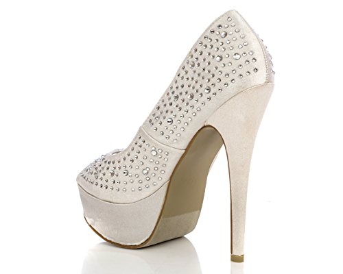 Studded Stilleto Platform Charles High Silver Heel Pumps Elegant Toe Peep Women's Albert qwSpH1X
