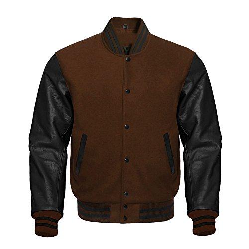 Premium Letterman Baseball School College Bomber Varsity Jacket Wool Brown & Black Genuine Leather Sleeves (Brown/Black, 2XL)