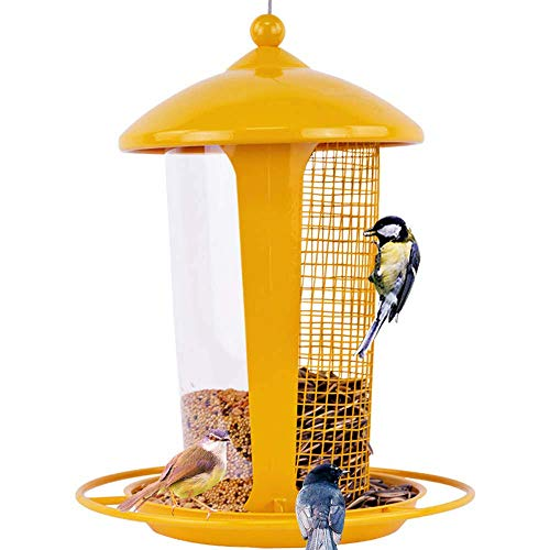 (Bird Feeder for Outside Large, Bird Feeding Station, Hanging Design/Transparent Tube/Mesh Two-Layer Design, Easy to Clean, Fit for Garden Decoration, Yellow)