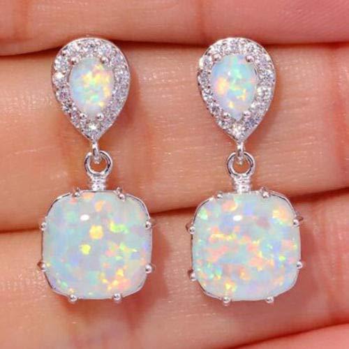 Hithop Fashion Women 925 Sterling Silver FWhite Fire Opal Ear Earrings Wedding Jewelry
