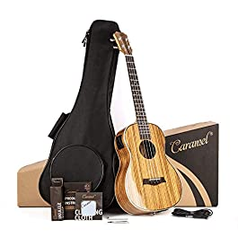 Caramel 26 inch CT103 Zebra Wood High Gloss Tenor Electric Ukulele Professional Ukelele Kit Beginner Guitar Starter…