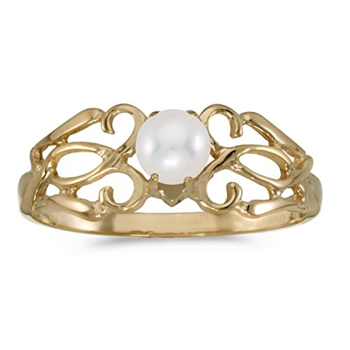 14k Yellow Gold Freshwater Cultured Pearl Filagree Ring (Size 7.5) by Direct-Jewelry