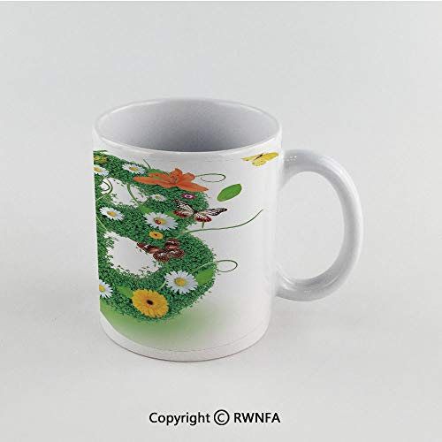 11oz Unique Present Mother Day Personalized Gifts Coffee Mug Tea Cup White Letter B,Uppercase B Sign with Flourishing Daisies Exotic Garden Plants Butterflies Fresh Decorative,Multicolor Funny Cerami ()