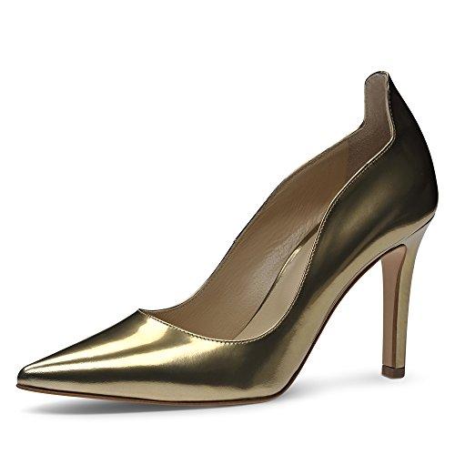 piel Evita corte dorado Shoes cepillo de Zapatillas de XqHZX