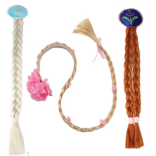 Princess Wigs Set,3pcs Dress Up Hair Braided
