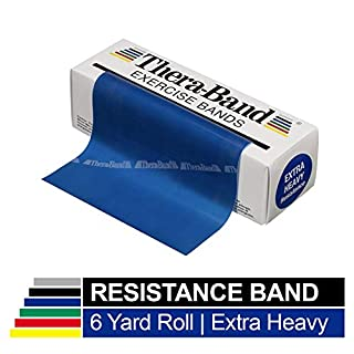 TheraBand Resistance Bands, 6 Yard Roll Professional Latex Elastic Band for Upper & Lower Body, Core Exercise, Physical Therapy, Pilates, Home Workouts, Rehab, Blue, Extra Heavy, Intermediate Level 2