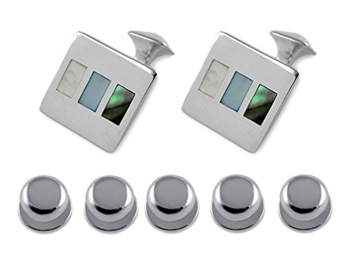 of shell abalone Gift amp; pearl silver Cufflinks mother Shirt Sterling Dress Set Studs 4wCYEn