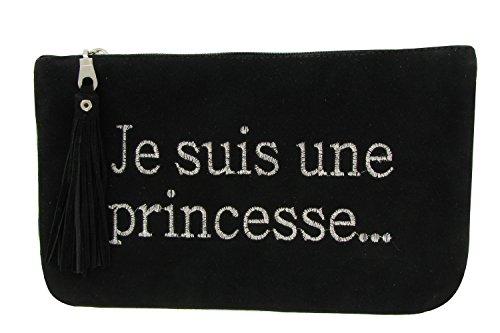 Pochette Sac Daim Brodé Je suis une Princesse Couleur Noir