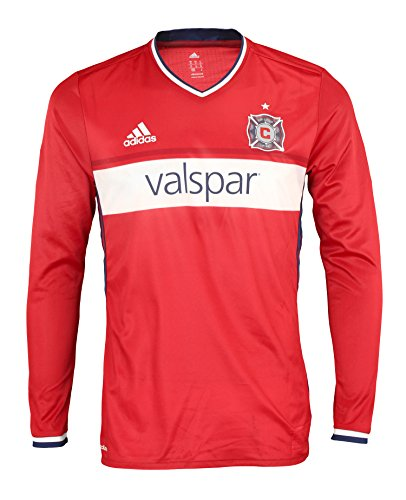 fan products of MLS Soccer Chicago Fire Men's Adidas Long Sleeve Authentic Jersey, Red