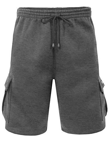 ACTIVE LAZY Men's Solid Fleece Cargo Short/Long Sweatpants-CHARCOAL-5XL