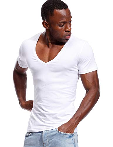 Deep V Neck T Shirt for Men Low Cut Vneck Tee Invisible Tshirt Vee Top White XL ()