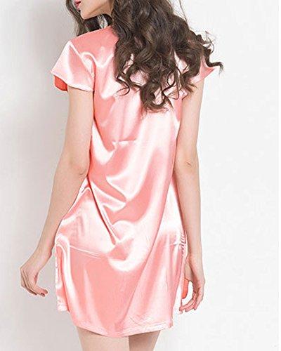 ZhuiKunA Women Short Sleeved Comfort Nightdress Lace Neck Midi Dress Ruffle  Nightgown  Amazon.co.uk  Clothing b537761b0