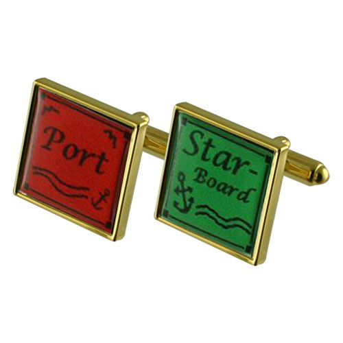 Select Gifts Port Starboard Sailing Gold-Tone Square Cufflinks with Engraved Personalised Case ()