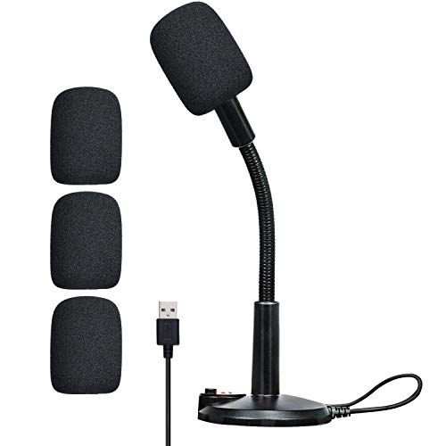 USB Microphone, Plug & Play Microphone for Computer, HD Audio Quality PC Microphone, Compatible with PC and Mac etc, for Online Meetings, Live Video Streaming, Gaming Mic