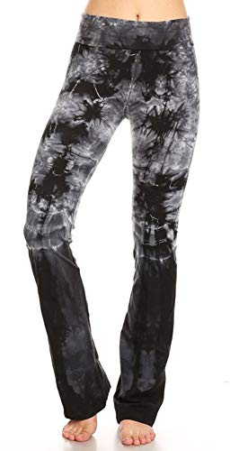 T Party Women's Crystal Tie Dye Black Dipped Legs Foldover Waist Yoga Pants (Small, Black Crystal Dip)
