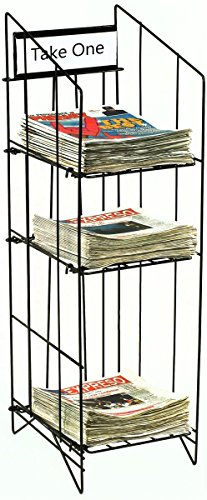 """Newspaper Rack for Tabloid Size Publications, 12-1/4""""w x 43""""h x 16""""d, Free Standing Floor Fixture, Gloss Black Wire, Sign Channel Plate"""