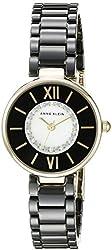 Anne Klein Women's AK/2178BKGB Swarovski Crystal Accented Gold-Tone and Black Ceramic Bracelet Watch