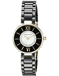 Women's AK/2178BKGB Swarovski Crystal Accented Gold-Tone and Black Ceramic Bracelet Watch