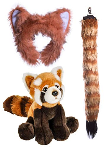 Wildlife Tree Stuffed Plush Red Panda Ears Headband and Tail Set with Baby Plush Toy Red Panda Bundle for Pretend Play Animals Dressup ()