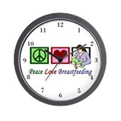 CafePress Peace Love Breastfeeding Wall Clock Unique Decorative 10