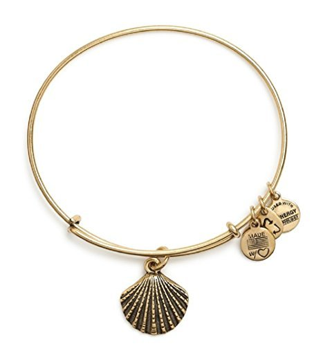 Bangles Shell Bangle (Alex and Ani Women's Sea Shell Charm Bangle Rafaelian Gold Finish One Size)